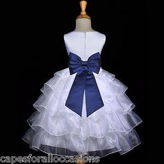 Navy Blue Wedding Bridesmaid Dresses | White Navy Blue Bridesmaid Wedding Tiered Organza Flower Girl Dress 2 ...