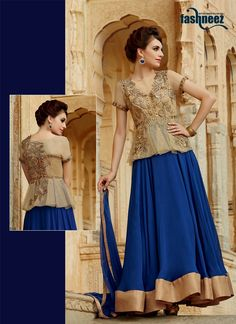 Stand out from rest with this blue georgette designer suit. This attire is nicely designed with embroidered and resham work. Comes with matching bottom and dupatta. (Slight variation in color, fabric ...