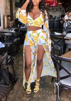 White Tulip Print Bow Slit Two Piece Deep V-neck Flowy Beach Party Chiffon Maxi Overlay Romper Dress Cute Fashion, Teen Fashion, Latest Fashion For Women, Sexy Dresses, Cute Dresses, Fashion Dresses, Casual Outfits, Summer Outfits, Cute Outfits