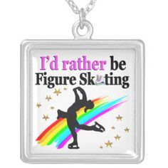 I WOULD RATHER BE FIGURE SKATING SILVER PLATED NECKLACE Give the holiday gift every Figure Skater will treasure with our beautiful personalized Figure Skating Tees and Gifts. http://www.zazzle.com/mysportsstar/gifts?cg=196621838645756107&rf=238246180177746410 #figureskating #Figureskater #Figureskatinggifts #BorntoSkate #Loveskating