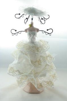 "12.8"" Beautiful Layer Wedding Dress Doll w/ Hat Jewelry Holder Stand Hanger: Amazon.com: Kitchen & Dining Shabby Chic Mannequin, Jewelry Holder Stand, Fashion Show, Vintage Fashion, Flower Girl Dresses, Dolls, Christmas Ornaments, Holiday Decor, Wedding Dresses"