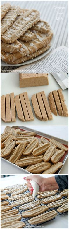 Cinnamon Cookie Sticks Ingredients 1 cup butter, softened  1 cup sugar  1 cup brown sugar  2 eggs  1/2 teaspoon vanilla extract  1 Tablespoon ground cinnamon  3 1/2 cups all purpose flour  1 teaspoon baking soda   for the glaze  1 cup powdered sugar  2-3 Tablespoons milk