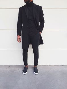 All Black Everything Style - BLVCK Fashion - Fashionboxx All Black Everything Outfit Wearing All Black, All Black Outfit, Black Outfits, All Black Look Men, All Black Style, Black Slip On Sneakers Outfit, Mens Slip On Sneakers, Outfits Hombre, All Black Looks