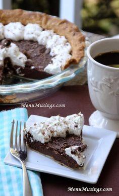 Step-by-step photo recipe tutorial to making deep South chocolate chess pie, chocolate pie, chess pie