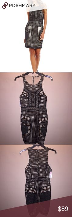 """Gianni Bini Bianca black and tan dress New with tags. 15"""" across chest 17.5"""" hips. Zips in the back and has a small slit in the back. Gianni Bini Dresses Mini"""