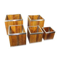 Leisure Season 14 x 14 Square Wooden Planter with Stainless Steel Trim Medium Brown Wooden Planter Boxes, Hanger Stand, Square Planters, Container Size, Container Garden, Swimming Pools Backyard, Outdoor Planters, Outdoor Area Rugs, Medium Brown