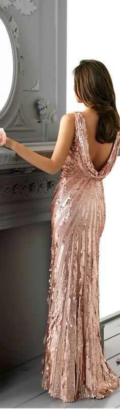 Gorgeous dusty pink full-length, sequined gown with slingback!
