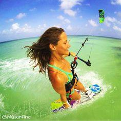 That feeling of freedom!  Melissa Gil kitesurfing in tropical paradise.  #MGsurfline #Free #Kitesurfing