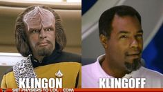 Star Trek Humor - Klingon Klingoff ~ Lol Too Funny! Fantasy Star, Sci Fi Fantasy, Star Trek Klingon, Nerd Love, Love Stars, Make Me Smile, Science Fiction, I Laughed, Fangirl