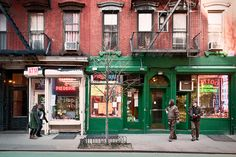 Christopher Street shops, Greenwich Village, New York, New York by lumierefl, via Flickr