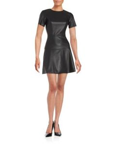 0a0a4c34ad5 Faux Leather Fit-and Flare Dress Design Lab