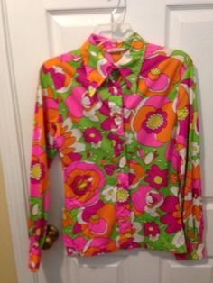 Vtg-1960s-Accent-PsYcHeDeLiC-NEON-Flower-HaWaiiAN-HiPPiE-MoD-Shirt-38