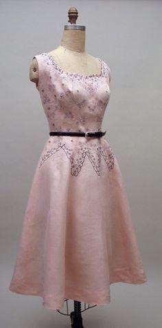 Vintage 1950s Cuban Embroidered Linen Dress
