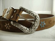 Brown Distressed Embroidered Belt