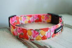 Tulip Dog collar with super vivid Tulip print by TheSoapyMoose