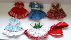 Ideal 12 Inch Shirley Temple Doll Clothes Lot of Six Dresses Cape Vintage 1950s