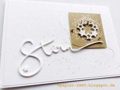 papierZART : ein Stern, Alexandra Renke, Weihnachtskarte, Weihnachten, Kärtchenbogen, weiß-gold, Stern