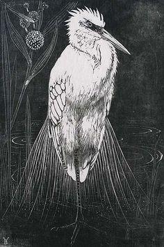 Henri Verstijnen (Dutch, 1882-1940). Silver Heron (Zilverreiger). Woodcut, ca. 1929.