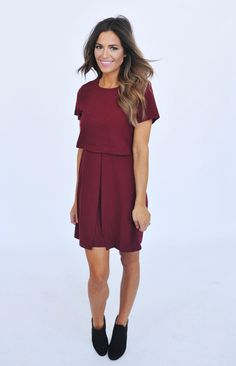 Maroon Pleated Front Dress - Dottie Couture Boutique