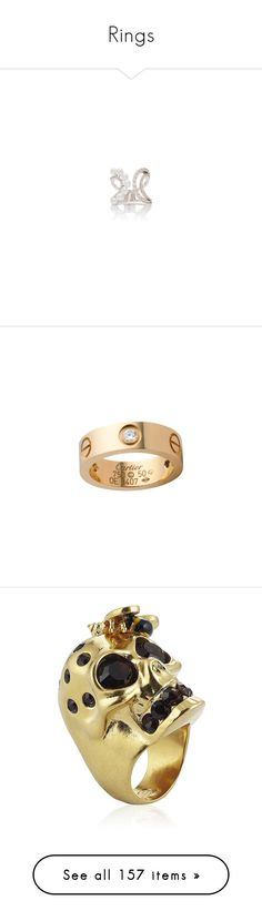 """""""Rings"""" by carolines-closet ❤ liked on Polyvore featuring jewelry, rings, chain ring, pearl ring, pearl jewellery, fallon jewelry, chains jewelry, anillo, cartier and yellow gold diamond rings"""