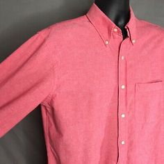 Mervyn/'s Men/'s collection vintage 80/'s pastel pale pink grey vertical stripe thin oxford button up collar shirt short sleeve made in usa XL