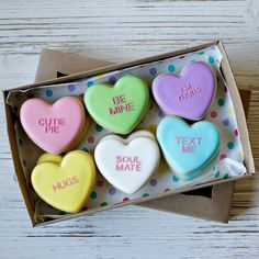 SHIPPING AND PROCESSING • This is a PRE ORDER listing. Unless if you note otherwise, I will ship your item to arrive between Feb 10 - 12 2018.  DESCRIPTION • About the design: A play on the traditional conversation heart candies! • Size & Quantity: You will receive 12 pcs of our mini cookies