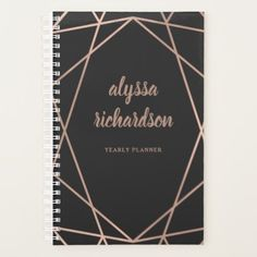 Modern Faux Rose Gold Geometric on Black Planner - elegant gifts gift ideas custom presents