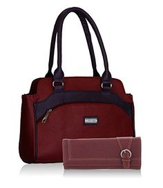 0c55c594c2ca Fantosy women maroon and purple handbag and wallet FNB-325 079  Amazon.in   Shoes   Handbags