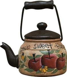 Home Sweet Home Kettle Apple Kitchen Decor, Apple Decorations, Country Paintings, Milk Cans, Teapots And Cups, Chocolate Pots, My Tea, Tole Painting, Metal Crafts