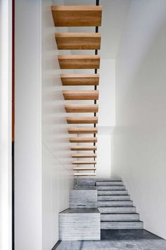 *architecture, modern interiors, design, stairs, wood and concrete, corridors, minimalism*