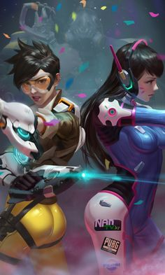 Tracer and D.VA, art, overwatch, 480x800 wallpaper