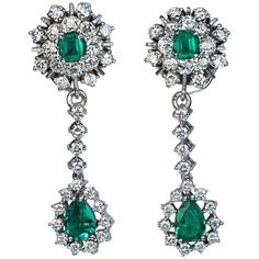 Emerald Diamond Day to Night Drop Earrings, 1950s | See more rare vintage Dangle Earrings at https://www.1stdibs.com/jewelry/earrings/dangle-earrings