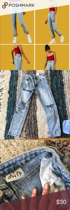 Unif high waisted jeans Fit similar to the one modeled but with distresses UNIF Jeans Skinny