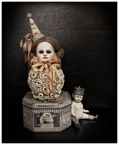 Iggi. Vintage/Antique style clown doll. Circus handmade.