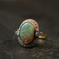 Antique Opal Engagement Rings | Art Deco Opal & Diamond Ring by Ruby Gray's | Ruby Gray's Antique ...
