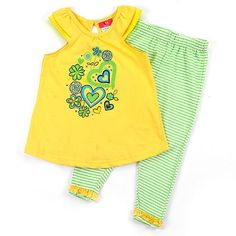 This sweet 2-piece, short-sleeved, 100% cotton outfit will look adorable on your baby girl.  The set includes lime and white striped pants that stretc