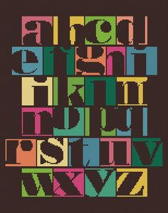 Modern Cross-stitch Alphabet Samper - PDF Cross-stitch PATTERN. $8.00, via Etsy.