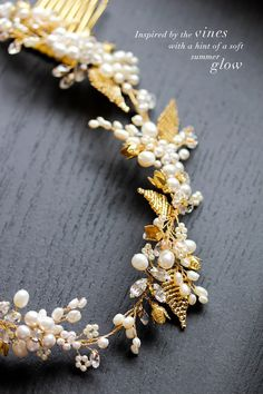 Bespoke gold bridal headpiece for Ida - beaded leaves, freshwater pearls and gold wire