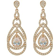 EVER FAITH GoldTone Austrian Crystal Zircon 8Shaped Tear Drop Dangle Earrings Clear *** Continue to the product at the image link.