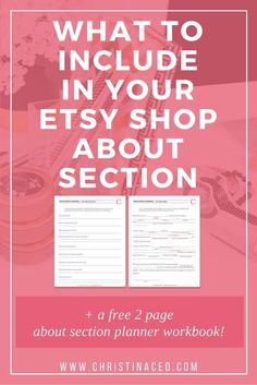 What to include in your Etsy shop about section   Ever wondered what information you should include in your about section on etsy? Then this blog (and free workbook!) is for you! Click through to read the post and download your free worksheets!