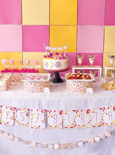 Little Girl Spa Birthday Party | Pink & Yellow Modern Spa Party {Girls Birthday} // Hostess with the ...