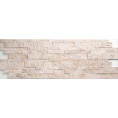 "Faber Travertine Split Face Wall Cladding 24"" x 6"" Tile in Light Ivory"