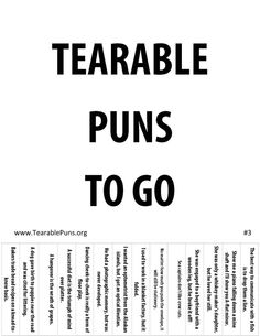 Tearable Puns Poster Tearable Puns To Go Puns Jokes, Funny Puns, English Puns, Work Puns, Kindness Projects, Science Puns, Laugh Out Loud, Workplace, Affirmations