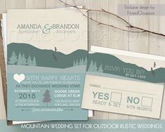 Mountain wedding invitations for rutic Outdoor weddings designed with mountains in mind. The wedding invitation is 5x7 and has a burlap background
