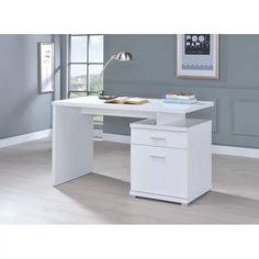 White Desk Office, Office Computer Desk, White Desks, Small Office, Office Setup, Office Ideas, File Cabinet Desk, Cabinet Drawers, Filing Cabinet