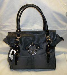 Emperia Gray Python Satchel Purse Handbag w/Black Trim & Gold Accents!!! #Emperia #Satchel