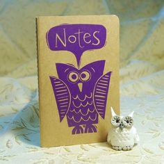 Purple Owl Moleskine Notebook by twohanddesign on Etsy