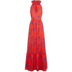 Borgo De Nor Frill Collar Maxi Dress (€740) ❤ liked on Polyvore featuring dresses, gowns, summer gowns, red maxi dress, maxi dresses, red dresses and red summer dress