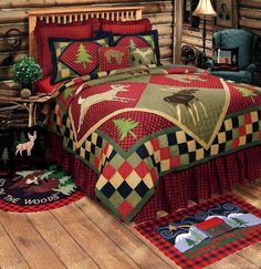 Save - on all Rustic bedding and comforter sets at Black Forest Decor. Your source for discount pricing on lodge bedding and bear bedding accessories. Twin Quilt, Quilt Bedding, Bedding Sets, Cotton Bedding, Red Comforter, Baby Bedding, Bedspread, Bed Sets, Colchas Country