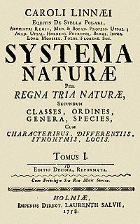 Systema Nature. Carl von Linné